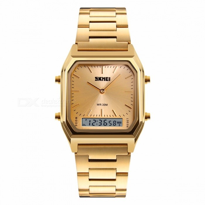 SKMEI 1220 Waterproof Mens Fashion Casual Quartz Wristwatch, Chronograph Digital Dual Time Sports Watch - GoldSport Watches<br>Form  ColorGoldenModel1220Quantity1 pieceShade Of ColorGoldCasing MaterialAollyWristband MaterialStainless SteelSuitable forAdultsGenderMenStyleWrist WatchTypeFashion watchesDisplayAnalog + DigitalBacklightEL LightMovementQuartzDisplay Format12/24 hour time formatWater ResistantWater Resistant 3 ATM or 30 m. Suitable for everyday use. Splash/rain resistant. Not suitable for showering, bathing, swimming, snorkelling, water related work and fishing.Dial Diameter4.3 cmDial Thickness1.1 cmWristband Length25 cmBand Width2.0 cmBattery1 x CR2016Packing List1 x Watch<br>