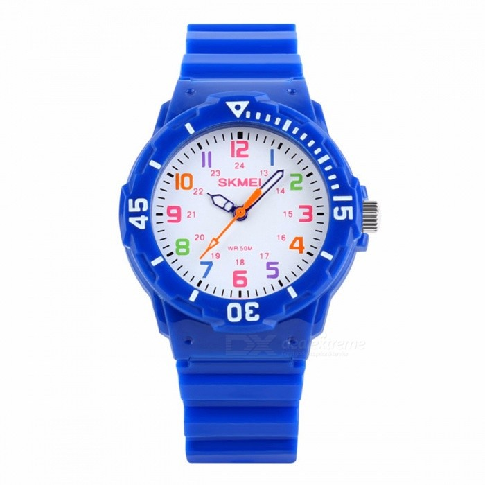 SKMEI 1043 Fashion Casual Childrens Jelly Watch, 50m Waterproof Quartz Wristwatch with Clock for Kids Boys Girls Students Navy BlueChildren Watches<br>Form  ColorBlueModel1043Quantity1 pieceShade Of ColorBlueCasing MaterialPlasticWristband MaterialPUSuitable forChildrenGenderUnisexStyleWrist WatchTypeCasual watchesDisplayAnalogMovementQuartzDisplay Format12 hour formatWater ResistantWater Resistant 5 ATM or 50 m. Suitable for swimming, white water rafting, non-snorkeling water related work, and fishing.Dial Diameter3.9 cmDial Thickness1.0 cmBand Width1.7 cmWristband Length22.2 cmBattery1 x SR828Packing List1 x Watch<br>