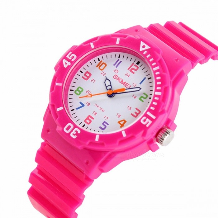 SKMEI 1043 Childrens Jelly Watch, 50m Waterproof Quartz Wristwatch with Clock for Kids Boys Girls Students - Rose redChildren Watches<br>Form  ColorDeep PinkModel1043Quantity1 pieceShade Of ColorRedCasing MaterialPlasticWristband MaterialPUSuitable forChildrenGenderUnisexStyleWrist WatchTypeCasual watchesDisplayAnalogMovementQuartzDisplay Format12 hour formatWater ResistantWater Resistant 5 ATM or 50 m. Suitable for swimming, white water rafting, non-snorkeling water related work, and fishing.Dial Diameter3.9 cmDial Thickness1.0 cmBand Width1.7 cmWristband Length22.2 cmBattery1 x SR828Packing List1 x Watch<br>