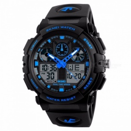 SKMEI 1270 50m Watwrproof Men's Sports Watch, Digital Chronograph Wristwatch with Double Time, Week Display - Blue
