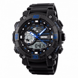 SKMEI 1228 50m Waterproof Sports Wristwatch, Men's Electronic Quartz Digital Watch with Back Light, Stop Watch - Black