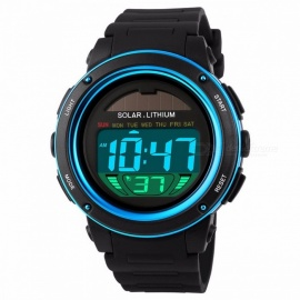 SKMEI 1096 Chrono 50m Water Resistant Men's Shockproof Digital Watch Solar Powered Fashion Sports Wristwatch - Blue