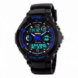 SKMEI 1060 50m Waterproof Children's Sports Wristwatch, Fashion LED Quartz Digital Watch for Boys Girls Kids Blue L