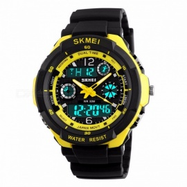 SKMEI 1060 50m Waterproof Children's Sports Wristwatch, Fashion LED Quartz Digital Watch for Boys Girls Kids New Yellow