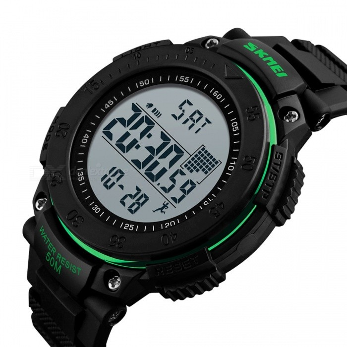 SKMEI 1238 Mens Sports Watch with Pedometer Timekeeping Function, Fashion Waterproof Alarm Digital Wristwatch - GreenSport Watches<br>Form  ColorBlack + GreenModel1238Quantity1 pieceShade Of ColorGreenCasing MaterialPCWristband MaterialPUSuitable forAdultsGenderMenStyleWrist WatchTypeCasual watchesDisplayDigitalBacklightEL LightMovementDigitalDisplay Format12/24 hour time formatWater ResistantNODial Diameter6.2 cmDial Thickness1.5 cmWristband Length27.5 cmBand Width2.2 cmBattery1 x CR2032Packing List1 x Watch<br>