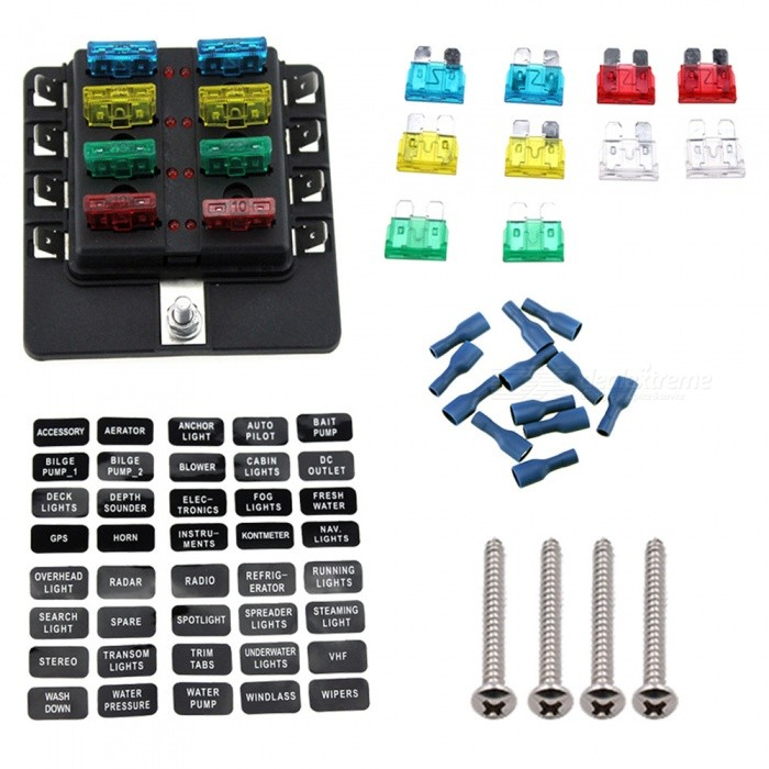 8 Way Boat Car Blade Fuse Box Truck RV Auto Fuse Block With Spade Terminals Output 30A Max Per CircuitOther Gadgets<br>Form  Color8 way fuse boxModelF1698-ZQuantity1 setMaterialPBT+PCShade Of ColorBlackCurrent30 APacking List1?fuse box<br>
