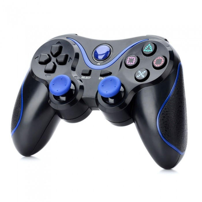 Kitbon Dualshock, Rechargeable Wireless Bluetooth Game Controller Gamepad for PS3 Sony Playstation 3 - Black + Blue