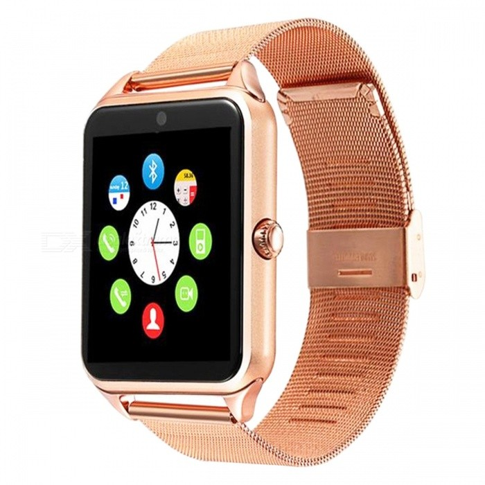 DMDG Bluetooth Smart Watch with Stainless Steel Strap, Camera, Call SMS Reminder, Sleep Monitor, Pedometer, Support SIM TF CardSmart Watches<br>Form  ColorGoldenModelN/AQuantity1 pieceMaterialStainless steelShade Of ColorGoldCPU ProcessorMTK6261DScreen Size1.54 inchScreen Resolution240 * 240Touch Screen TypeIPSNetwork Type2GCellularGSMSIM Card TypeMicro SIMBluetooth VersionBluetooth V3.0Compatible OSiOS, AndroidLanguageSimplified Chinese, EnglishWristband Length25 cmWater-proofNoBattery ModeReplacementBattery TypeLi-ion batteryBattery Capacity350 mAhStandby Time5 daysPacking List1 x Smart Watch1 x USB Charging Cable1 x User Manual<br>