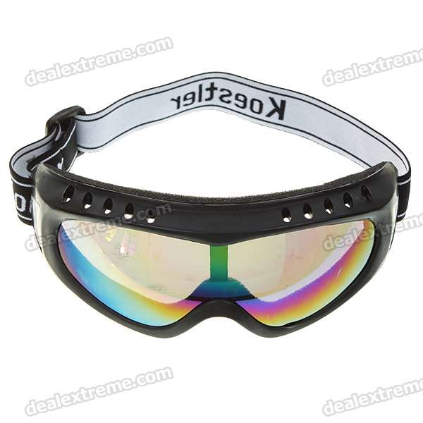 ABS + Sponge Safety Goggles Glasses with Elastic Strap - Black