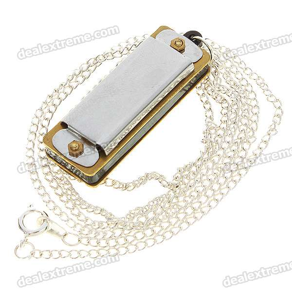 Mini 4-Hole 8-Tone Harmonicas with Necklace (2-Pack)