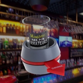 OOTDTY Spin the Shot Drinking Game Turntable Roulette Glass Spinning Fun Party Home Great for Party, KTV Gray+Red
