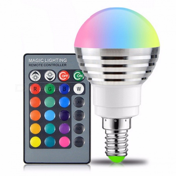E14 RGB LED Bulb 16-Color Magic LED Night Light Lamp Dimmable Holiday Stage Light 85-265V with 24-Key Remote ControlColor BINRGBModel:MaterialAluminum+PCForm  ColorWhite + SilverQuantity1 setPower3WRated VoltageAC 85-265 VConnector TypeE14Chip BrandOthers,-Emitter TypeLEDTotal Emitters1Actual Lumens240 lumensColor Temperature12000K,Others,RGBDimmableNoBeam Angle170 °Certification:Color BINRGBPacking List1 x Bulb1 x Remote controller<br>