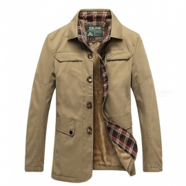 77092 Men's Fashion Winter Warm Cashmere Lapel Casual Outdoor Jacket Coat Outwear - Khaki (2XL)