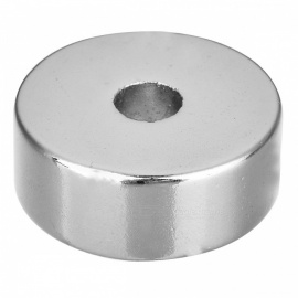 25*10-8mm Round Shaped Single Hole NdFeB Magnet - Silver