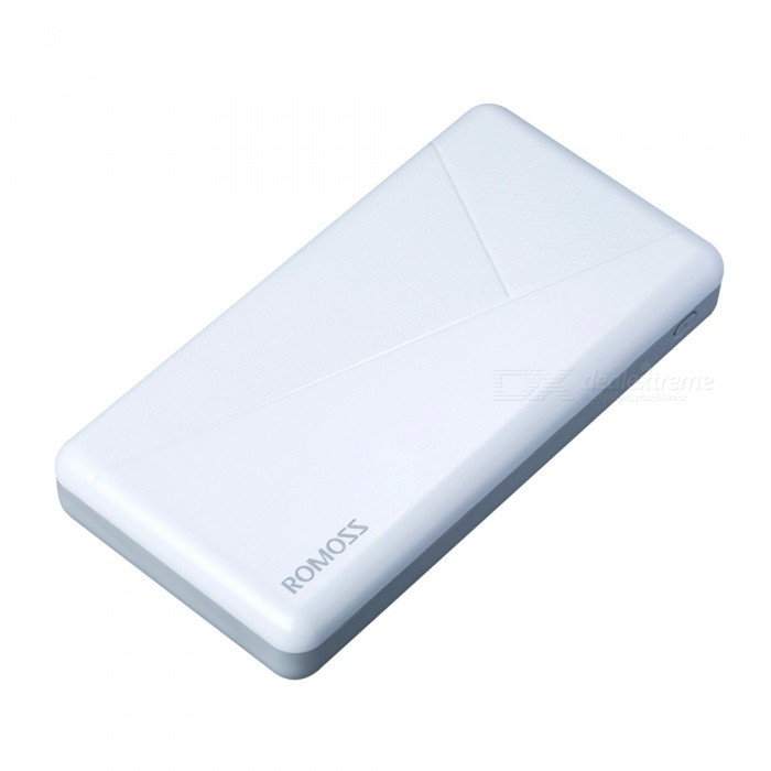 Romoss Pie20 Portable 20000mAh Power Bank with Dual USB Charging Outputs - White