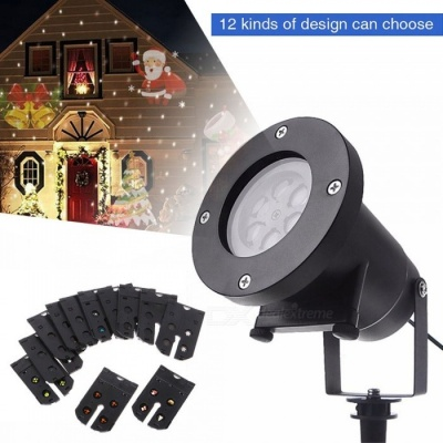 YouOKLight 12 Types Patterns Christmas Laser Snowflake Multi-Color LED Projector Lamp - US Plug