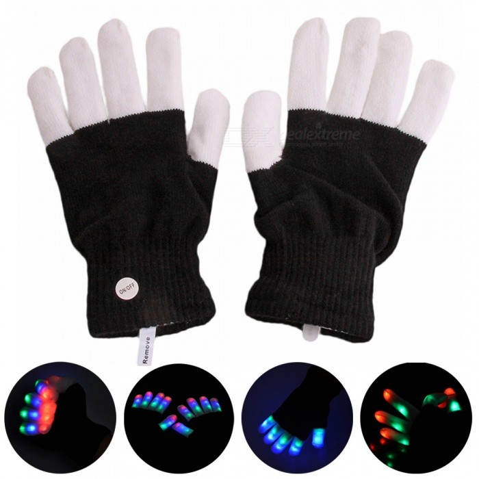 YouOKLight 6-Mode Flashing Full Finger LED Colorful Gloves, Christmas GiftStage Lights<br>Form  ColorWhite + BlackModelYK2244MaterialKnitting YarnQuantity1 pieceShade Of ColorMulti-colorPattern TypeN/APowered ByOthers,2 X CR2016 BatteryPacking List1 Pair x LED Gloves (Include 2 x CR2016 Batteries)<br>