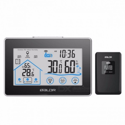 BALDR Indoor Outdoor Weather Station Temperature Humidity Meter Sensor Hygrometer Thermometer Wireless Touch LCD Digital Clock