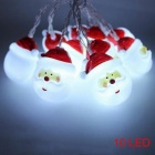 P-TOP 1.5m 10-LED 3V DIY Santa Claus Head Battery Powered Light for Party Square Garden Indoor Outdoor - White Light