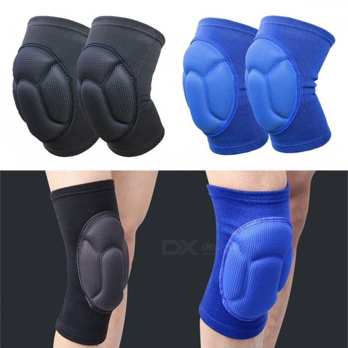 Thickening Safe Kneepad Extreme Knee Pad Elbow Brace Support Lap Knee Protector for Football Volleyball Cycling Sports - 2PCS Black