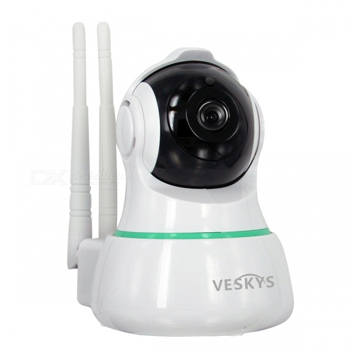 VESKYS 1080P HD 2.0MP Wireless Security IP Camera - EU PlugIP Cameras<br>Form  ColorWhitePower AdapterEU PlugModelN/AMaterialABSQuantity1 pieceImage SensorCMOSImage Sensor SizeOthers,1/3inchPixels2.0MPLens3.6mmViewing AngleOthers,75 °Video Compressed FormatH.264Picture Resolution1920 x 1080pFrame Rate25FPSInput/OutputBuilt-in microphone / Audio line-outMinimum Illumination0.1 LuxNight VisionYesIR-LED Quantity11Night Vision Distance10 mWireless / WiFi802.11 b / g / nNetwork ProtocolTCP,IP,UDP,SMTP,uPnP,PPPoESupported SystemsOthers,NOSupported BrowserOthers,NOSIM Card SlotNoOnline Visitor4IP ModeDynamicMobile Phone PlatformAndroid,iOSFree DDNSYesIR-CUTYesBuilt-in Memory / RAMNoLocal MemoryYesMemory CardTFMax. Memory Supported128GBMotorYesRotation AngleHorizontal:355 degree Vertical: 90 degreeSupported LanguagesEnglish,Simplified ChineseWater-proofNoPacking List1 x IP Camera 1 x USB Cable 1 x EU Plug power adapter (110~240V)1 x Camera Fixed chassis1 x Pack of installation accessories1 x English user manual<br>