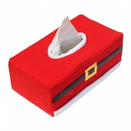 Unique Belt Buckle Decorative Tissue Paper Napkin Box for Christmas - Red