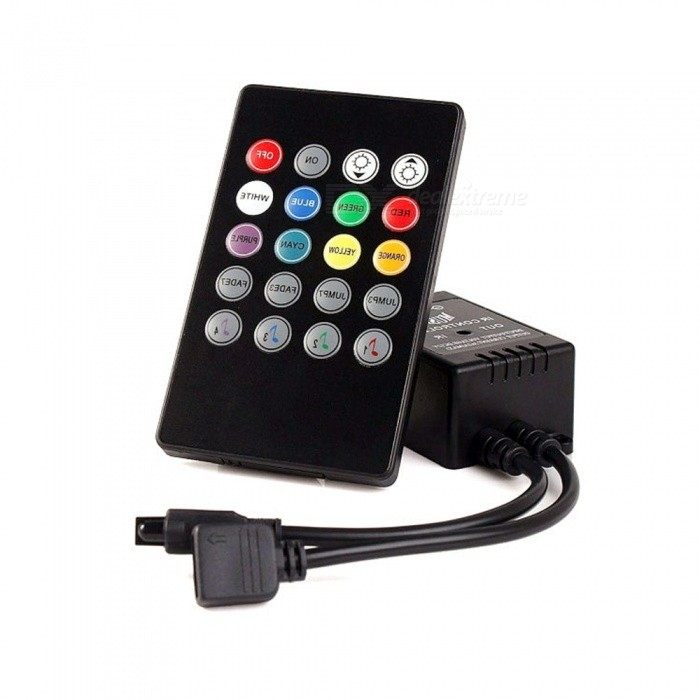 Universal 12V-24V 20-Key Music IR Controller w/ Sound Sensor Remote for RGB LED StripOther Accessories<br>Form  ColorBlackMaterialABSQuantity1 setPacking List1 x RGB Controller1 x 20-Key Remote (No battery with remote, RC2025 is required)1 x Manual<br>