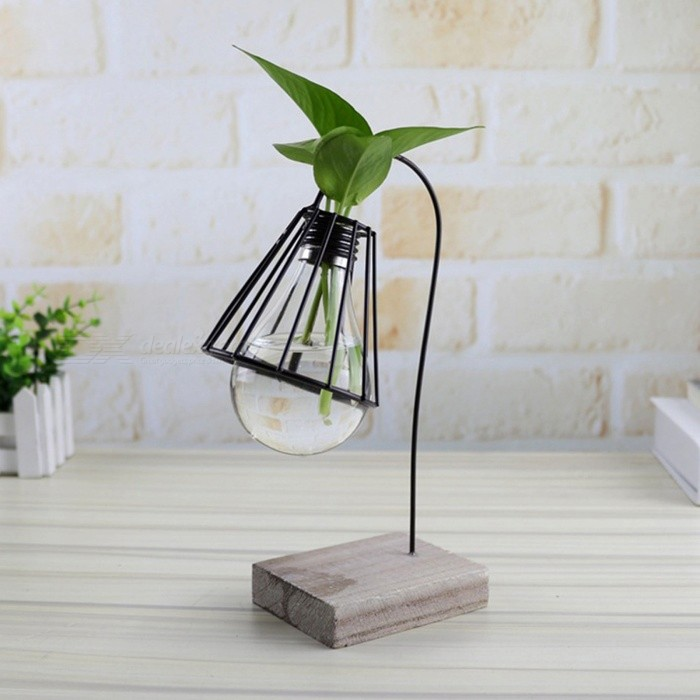 Creative Modern Style Hydroponic Plants Lamp Holder Model for Living Room DecorationOther Gifts<br>Form  ColorBlackMaterialIronQuantity1 setPacking List1 x Bracket1 x Glass bottle<br>