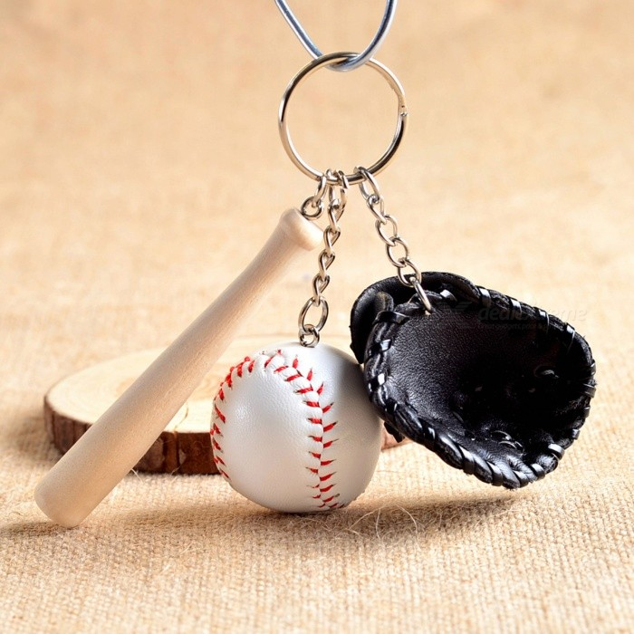 P-TOP Fashion Mini Three-Piece Baseball Glove Wooden Bat Keychain - BlackKeychains<br>Form  ColorBlackMaterialAlloy+Wood+Faux LeatherQuantity1 setPacking List1 x Baseball Keychain<br>