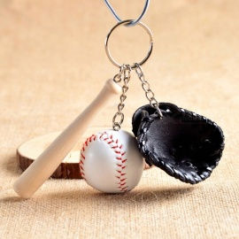P-TOP Fashion Mini Three-Piece Baseball Glove Wooden Bat Keychain - Black