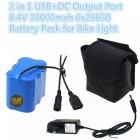 ZHAOYAO 8.4V 36000mAh 6 x 26650 Rechargeable Lithium Battery with EU Plug Charger for Mountain Bike Light