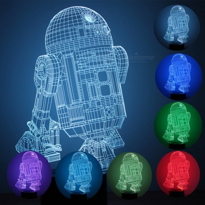 R2D2-B Robert Pattern 7-Color Changing USB 3D LED NightlightLED Nightlights<br>Form  ColorBlack + TransparentModelBRM-2777MaterialPlasticQuantity1 setPowerOthers,1.5WRated VoltageOthers,5 VColor BINMulti-colorChip BrandOthers,ling tongChip Typeling tongEmitter TypeLEDTotal Emitters8DimmableYesInstallation TypeInsertedPacking List1 x Parttern board1 x Light base1 x USB cable1 x User manual<br>