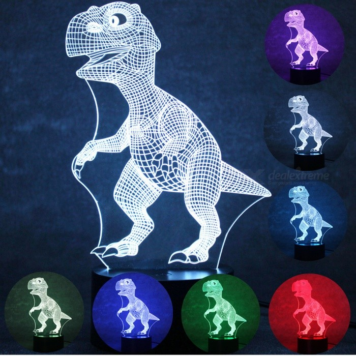 Dinosaur Pattern 7-Color Changing USB 3D LED NightlightLED Nightlights<br>Form  ColorBlack + TransparentModelBRM-2750MaterialPlasticQuantity1 setPowerOthers,1.5WRated VoltageOthers,5 VColor BINMulti-colorChip BrandOthers,ling tongChip Typeling tongEmitter TypeLEDTotal Emitters8DimmableYesInstallation TypeInsertedPacking List1 x Parttern board1 x Light base1 x USB cable1 x User manual<br>