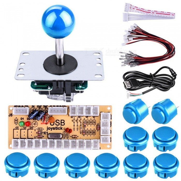 DIY Arcade Game Button and Joystick Controller Kit for Rapsberry Pi and Windows - BlueKits<br>Form  ColorBlue + MulticolorModelN/AQuantity1 setMaterialABS and alloyDownload Link   N/APacking List1 x Encoder Board1 x USB Cable1 x 5pin Cable for Joystick1 x 5pin Joystick8 x 30mm Push Buttons2 x 24mm Push Buttons10 x Wire Cable for Buttons<br>