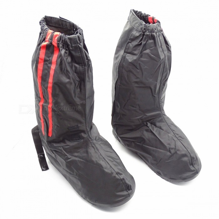 Unisex Sleeve Type Oxford Cloth Antiskid Rubber Sole Rainproof Shoes High Boots Cover - Black + Red (M)Shoes<br>Form  ColorBlack + Red / MEUR SizeOthersQuantity1 pieceShade Of ColorBlackMaterialOxford + RubberStyleOthers,OutdoorFoot Length28.5 cmFoot Girth22 cmHeel Height1 cmBoot Shaft Height39 cmPacking List1 x Pair of Shoes Covers<br>
