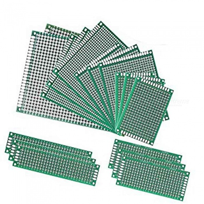 ZHAOYAO Double-Side Prototype PCB Circuit Boards for Arduino - Green (17 PCS)DIY Parts &amp; Components<br>Form  ColorGreen (17 PCS )Quantity17 piecesMaterialCopperEnglish Manual / SpecNoCertificationNOPacking List3 x 2*8CM prototype PCB universal boards3 x 3*7CM prototype PCB universal boards3 x 4*6CM prototype PCB universal boards3 x 5*7CM prototype PCB universal boards3 x 6*8CM prototype PCB universal boards2 x 7*9CM prototype PCB universal boards<br>