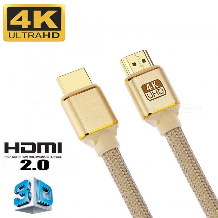 Cwxuan HDMI Male to HDMI Male 2.0 4K 3D Cable for HD TV LCD Laptop PS3 Projector Computer - Golden (300cm)Audio And Video Cables<br>Form  ColorGoldenShade Of ColorGoldCable Length300 cmMaterialAluminum Alloy + NylonQuantity1 setConnector GenderMale to MaleConnectorHDMILength300cmPacking List1 x HDMI cable<br>