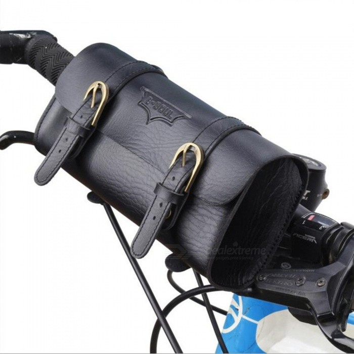B-SOUL Retro Waterproof 1L Multi-Function Riding Skateboard Folding Handlebar Bag - BlackBike Bags<br>Form  ColorBlackQuantity1 pieceMaterialPU leatherTypeHandlebar BagsCapacity1 LWaterproofYesPacking List1 x Handlebar bag<br>