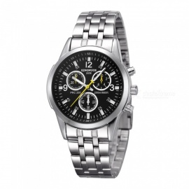 KINGNUOS Mineral Fortified Glass Mirror Dial, Three-eye Six Needle Men's Watch w/ Steel Strap - Silver + Black