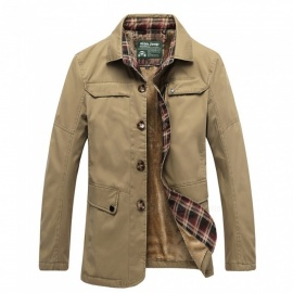 77092 Men's Fashion Winter Warm Cashmere Lapel Casual Outdoor Jacket Coat Outwear - Khaki (M)