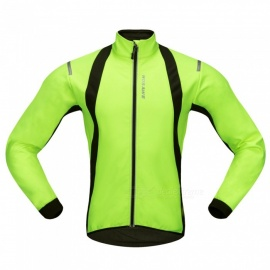 WOSAWE BC232 Windproof Polyester Fleece Classic Long Sleeves Bike Cycling Top Jacket for Autumn / Fall Winter - Green (S)