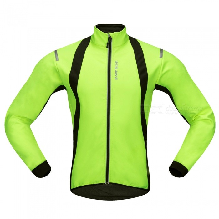 WOSAWE BC232 Windproof Polyester Fleece Classic Long Sleeves Bike Cycling Top Jacket for Autumn / Fall Winter - Green (M)