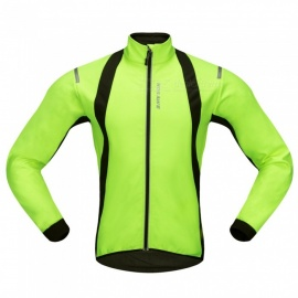 WOSAWE BC232 Windproof Polyester Fleece Classic Long Sleeves Bike Cycling Top Jacket for Autumn / Fall Winter - Green (XL)