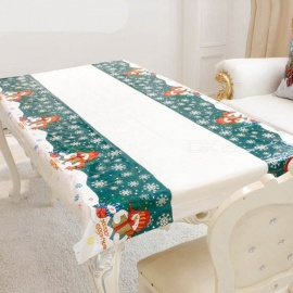 P-TOP 110*180cm Christmas Disposable Tablecloth, Festive Rectangle Xmas Table Cover for Home Decoration - Snowman Pattern