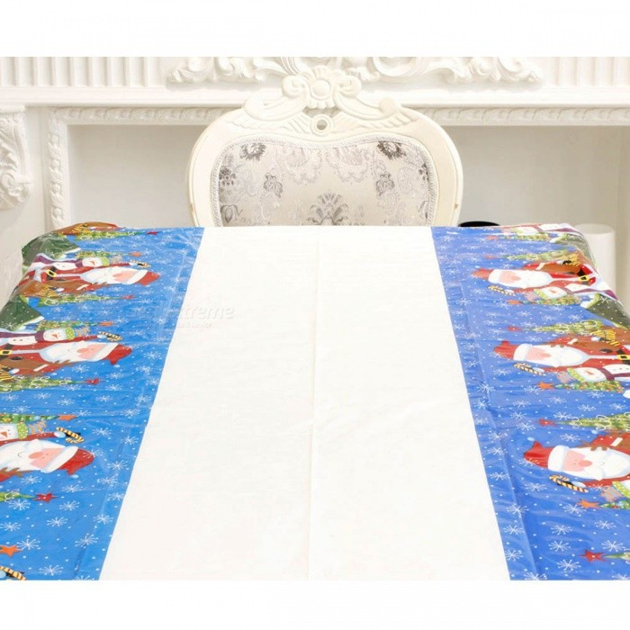 P-TOP 110*180cm Christmas Disposable Tablecloth, Festive Rectangle Xmas Table Cover for Home Decoration - Santa Claus PatternChristmas Gadgets<br>Form  ColorWhite + Green + Blue - Santa Claus PatternMaterialPVCQuantity1 setSuitable holidaysChristmasPacking List1 x Tablecloth<br>