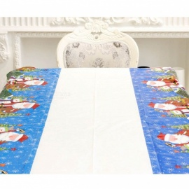p -TOP 110 * 180cm noël nappe jetable, couverture de table festive rectangle de Noël pour la décoration de la maison-modèle de père Noël