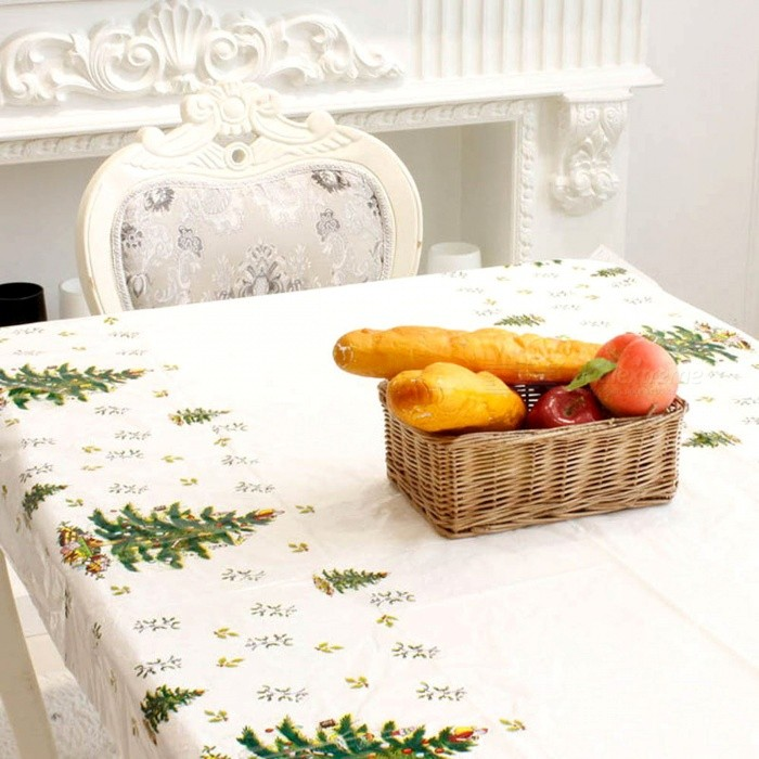 P-TOP 110*180cm Christmas Disposable Tablecloth, Festive Rectangle Xmas Table Cover for Home Decoration - Christmas Tree PatternChristmas Gadgets<br>Form  ColorWhite + Green + Blue - Christmas Tree PatternMaterialPVCQuantity1 setSuitable holidaysChristmasPacking List1 x Tablecloth<br>