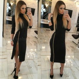 Stylish High Collar Slim Long Sleeves Zipper Sexy Split Dress for Women Ladies - Black (M)