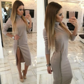 Stylish High Collar Slim Long Sleeves Zipper Sexy Split Dress for Women Ladies - Khaki (S)