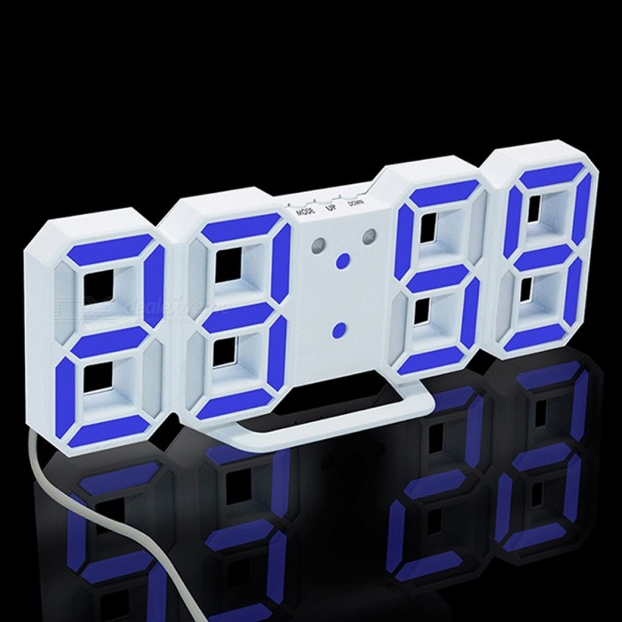 3D LED Digital Alarm Clock, Modern Wall Desk Table Clock w/ Snooze - Blue Lightdesk clock<br>Form  ColorWhite (Blue Light)ModelTS-S60-WMaterialPlasticQuantity1 setScreen TypeOthers,LEDBattery included or notYesPower SupplyOthers,3V AC AdapterPacking List1 x LED clock<br>